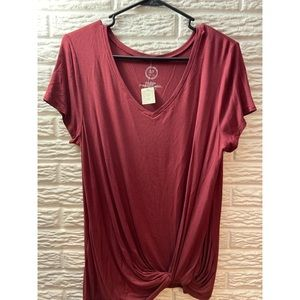 NWT Women's Maroon Knotted Tee from Maurices Sz L